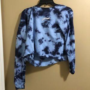 VS Pink cropped blue tye dye sweatshirt size XS